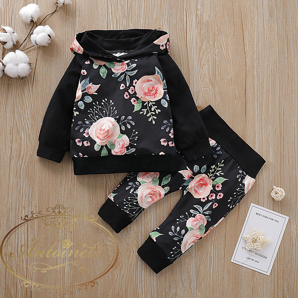 Baby Girl Clothes Long Sleeve Floral Hooded Sweatshirt Tops + Pants 2pcs Set Autumn Outfit Clothes Sets