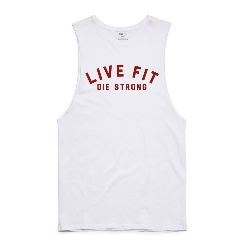 LIVE FIT Die Strong Long Cut Off- White