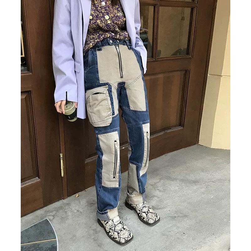 【即納のみ】unique stitch design pants