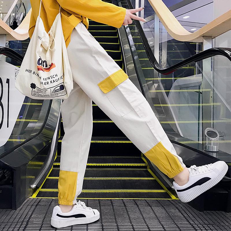 【bottoms】新作配色ハイウエストカジュアルパンツ21904498