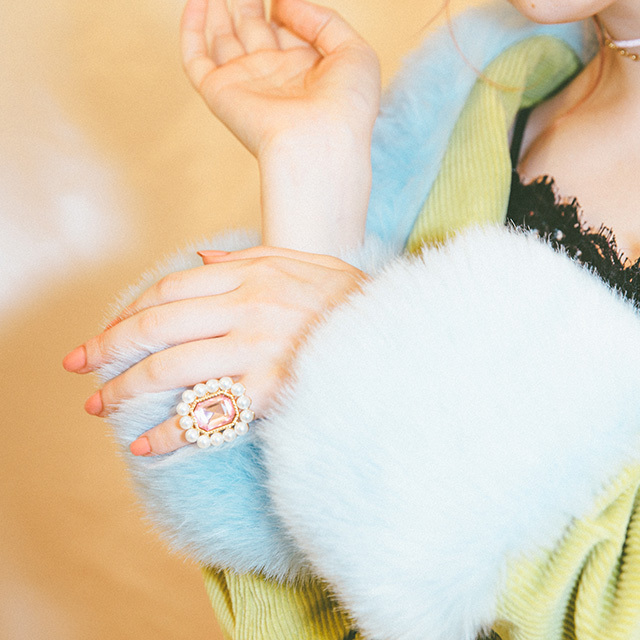Liquem / ディフォルメ・リング(ピンク)