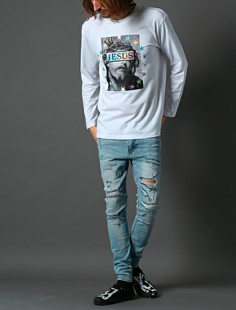 STUD MUFFIN スタッドマフィン ロンT スパンコール 長袖 Tシャツ メンズ トップス ホワイト