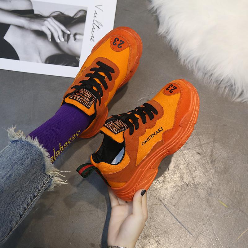 【shoes】カジュアルソリッドカラーPUスニーカー14309478