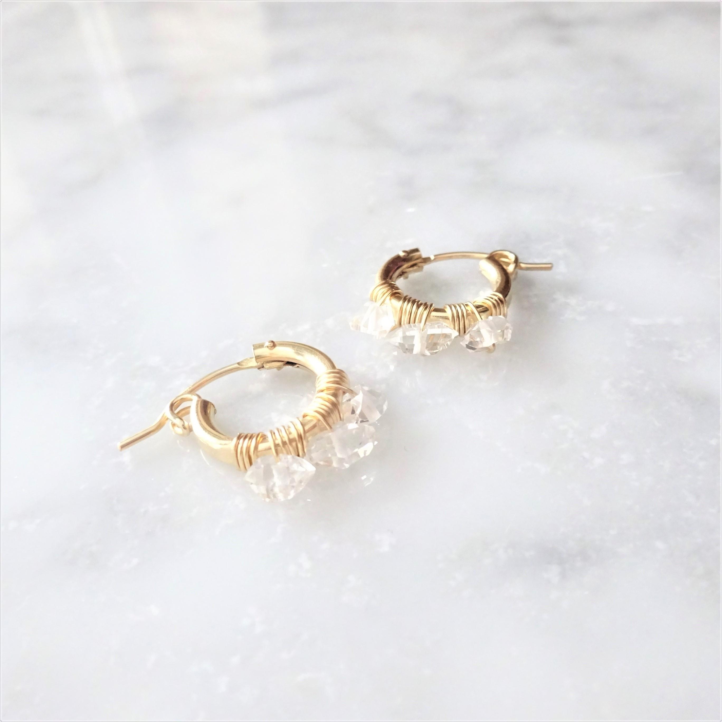 送料無料14kgf♡AAA 3 Herkimerdiamond hoop pierced earring/earring