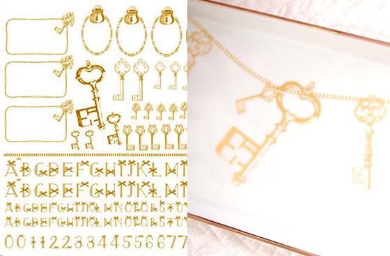 キー&アルファベット ゴールド A3サイズ(ポーセリンアート用転写紙)