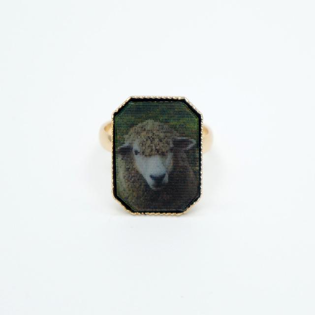 カワリング(羊&狼・八角形・緑)