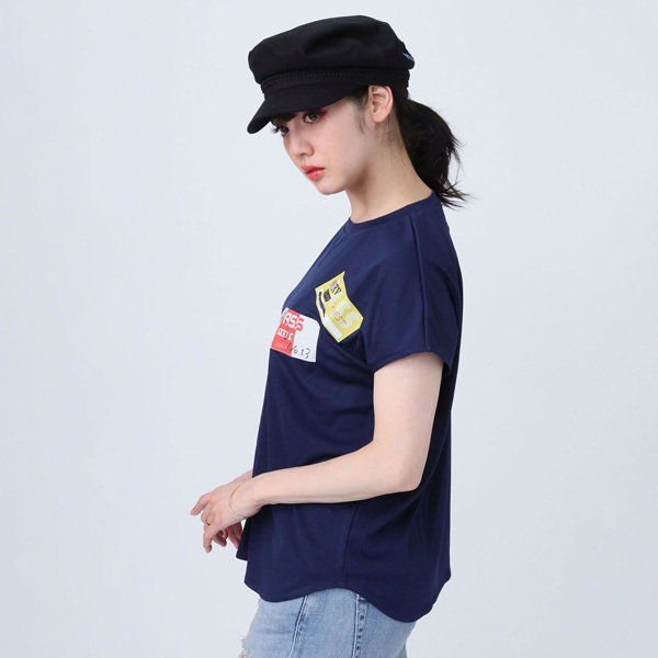 【FLOWER by RADIO EVA 022】Back Stage Pass French Sleeve T-Shirt  NAVY /  EVANGELION エヴァンゲリオン