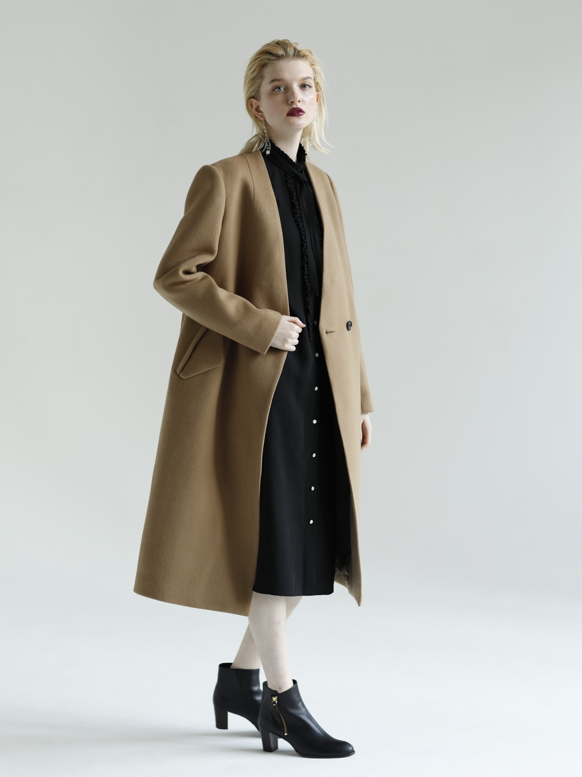 MANTECO-SOLID RUFFLE FRONT SHIRT DRESS