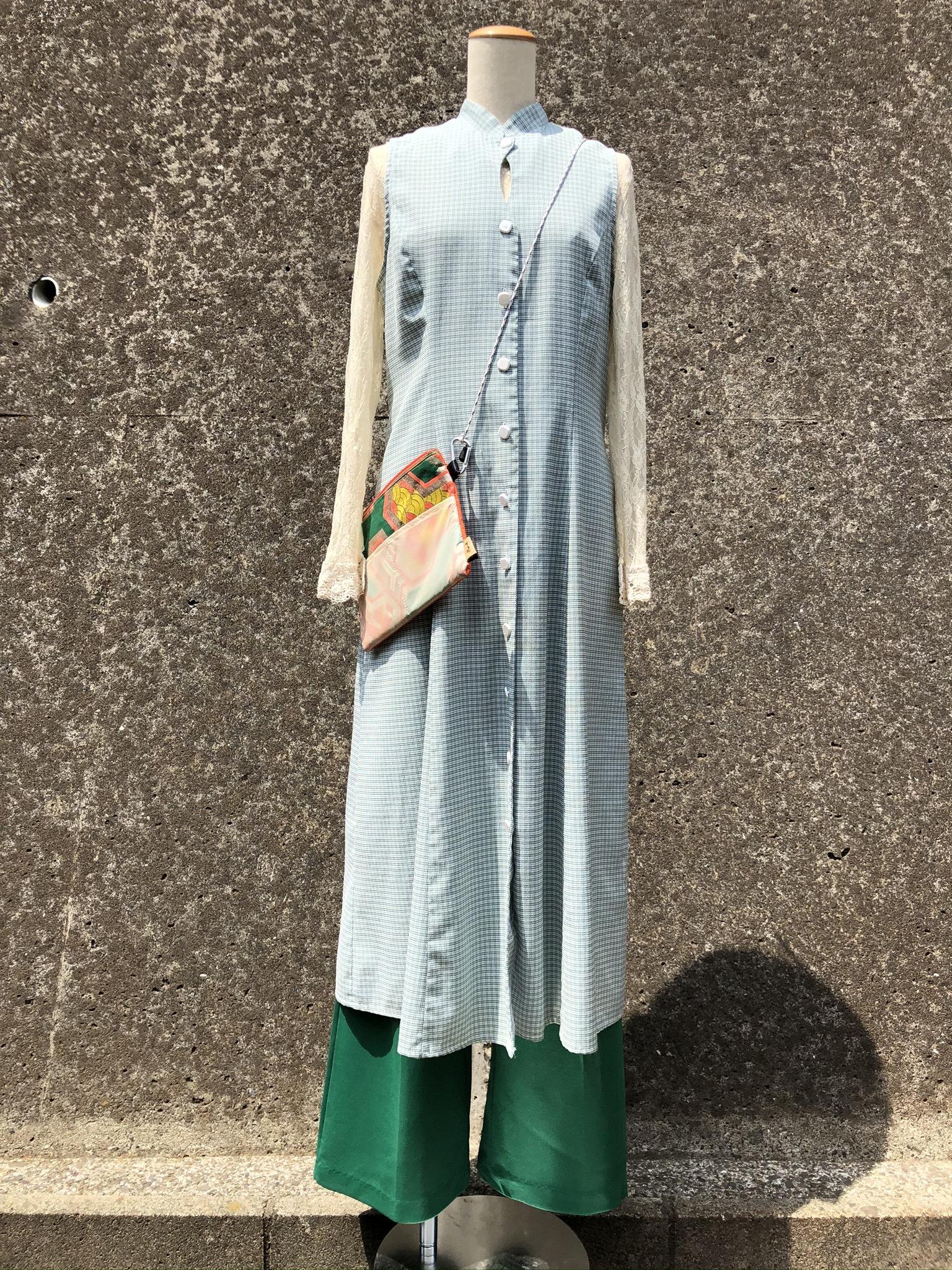 plaid nosleeve long dress