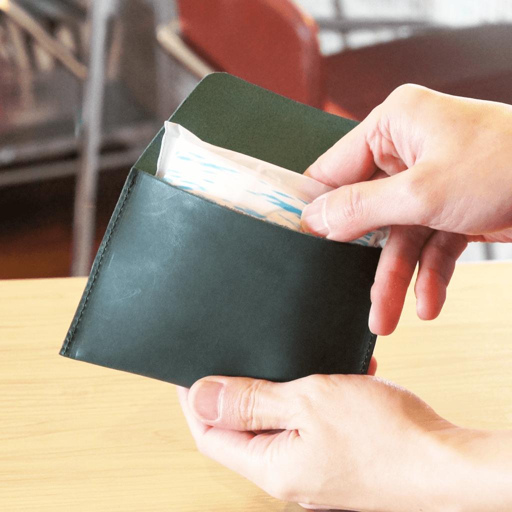 大人レザーのポケットティッシュケース【グリーン】
