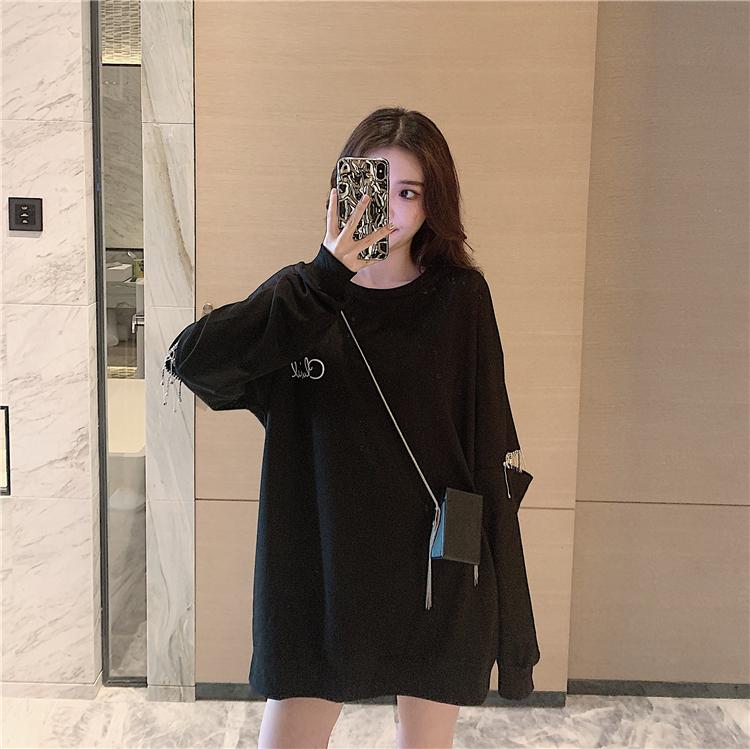 「トップス」個性ファッションダメージ加工ゆったりロングカジュアル2色パーカー