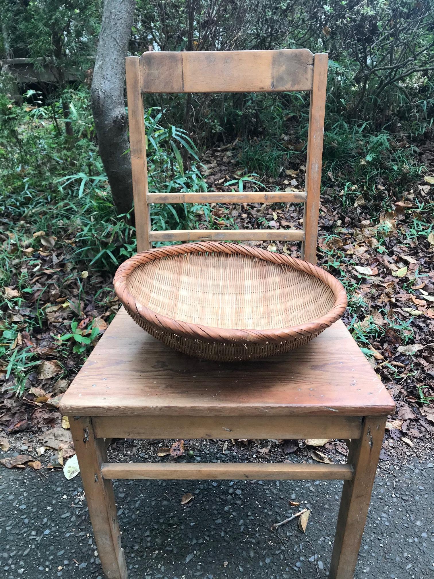 古い 竹製 日本のざる籠 かご バスケット 古道具