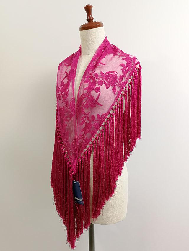 YL-MC_DF-bgv マントンシージョ 草花柄刺繍チュール・ピンク系 スペイン製 既製品