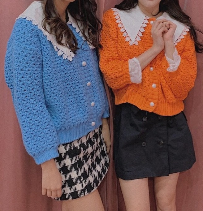 front button cardigan (orange/blue)