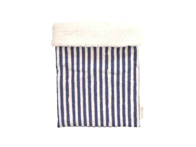 ハリネズミ用寝袋 M(冬用) フランネル×ボアフリース ストライプ ホワイト