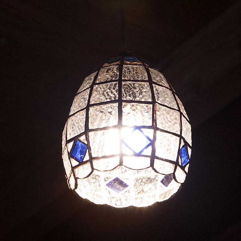 キューブクリスタル(ステンドグラスの吊りランプ)(ペンダントライト) 01010031
