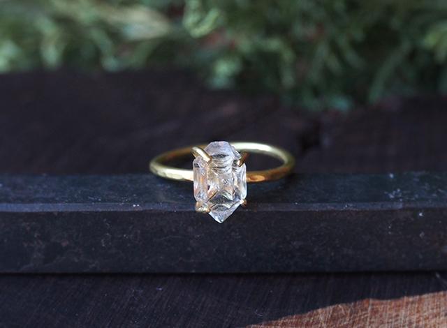 【一点物】原石のダイヤモンドクォーツのリング