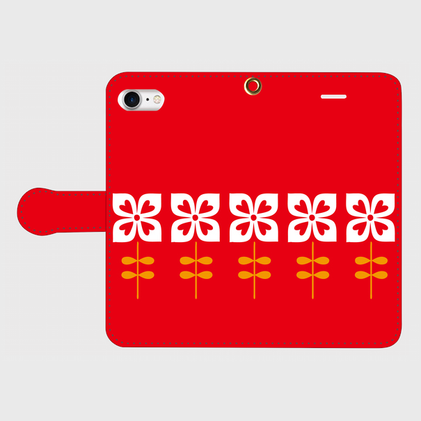 昭和デザイン花(赤・1)/ iPhoneスマホケース(手帳型ケース)