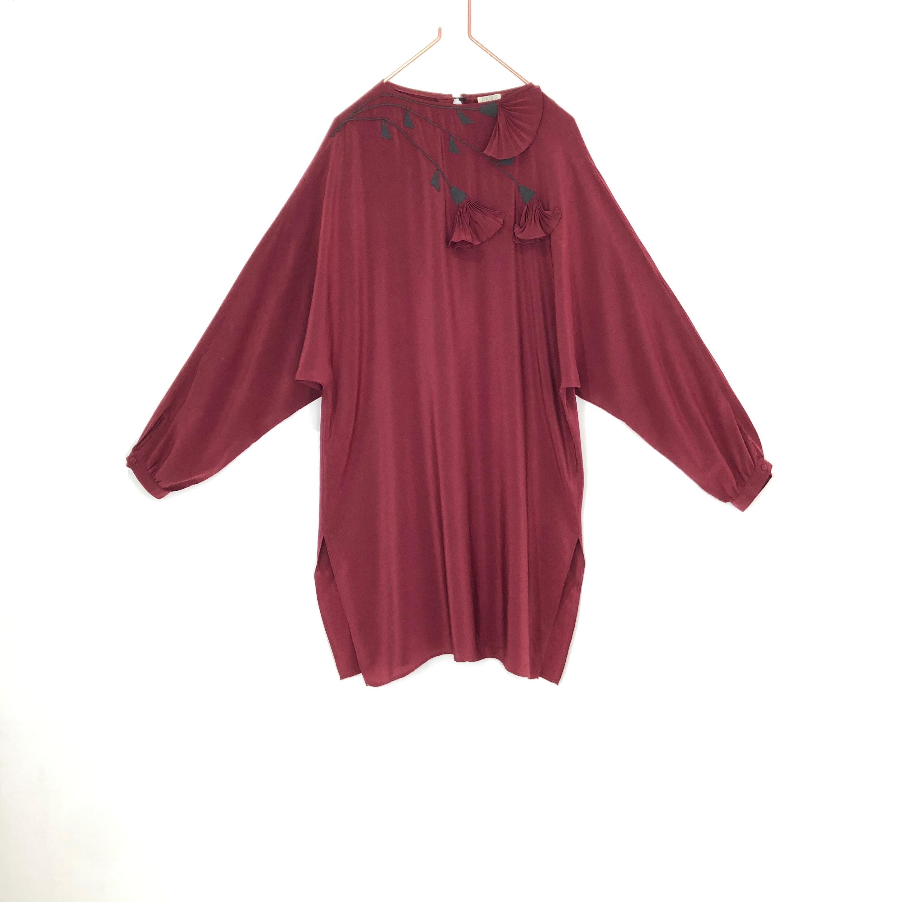 ◼︎80s vintage flower motif silk dress from Italy◼︎