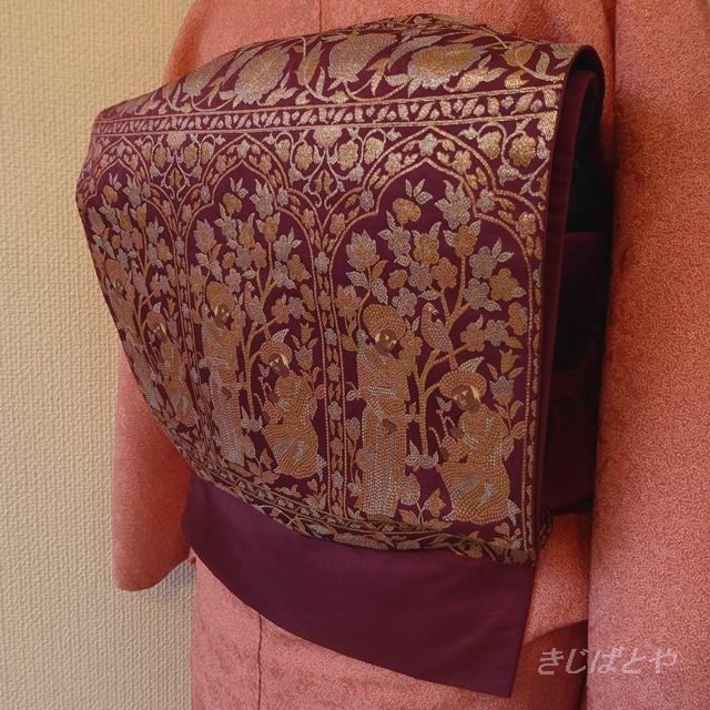 正絹 深い赤紫に金糸の洒落袋