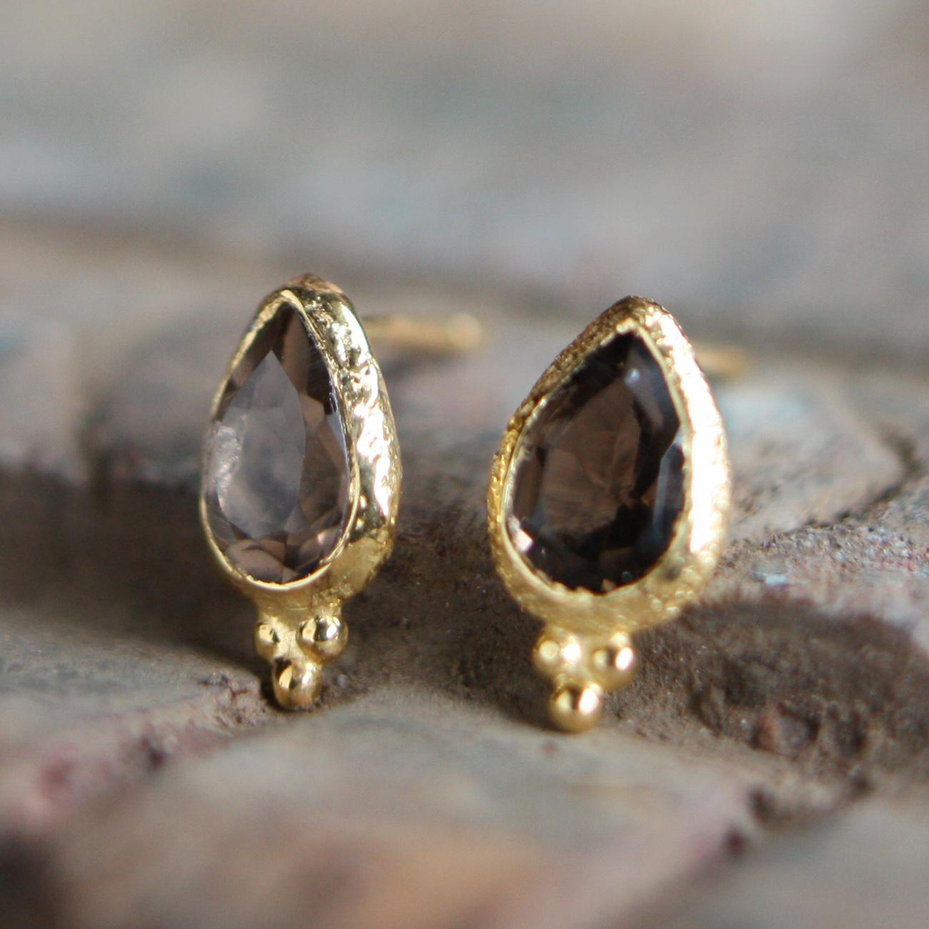 Jaipur gem ピアス -smoky quartz-