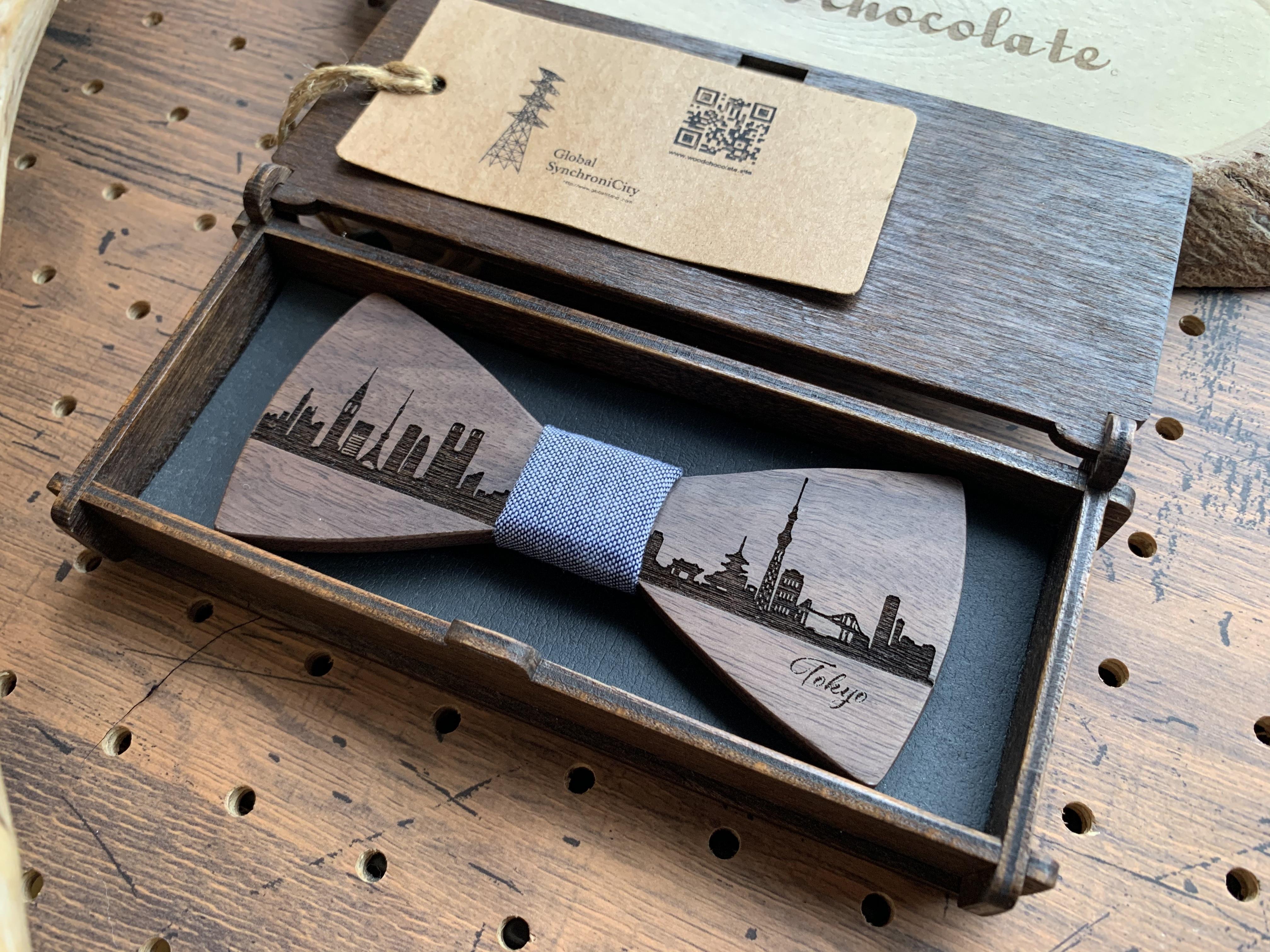 「東京の街並み」木製 蝶ネクタイ #CityContrast TOKYO - 画像1