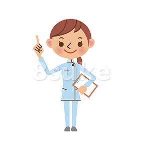 イラスト素材:バインダーを持って指差しする介護士の女性(ベクター・JPG)