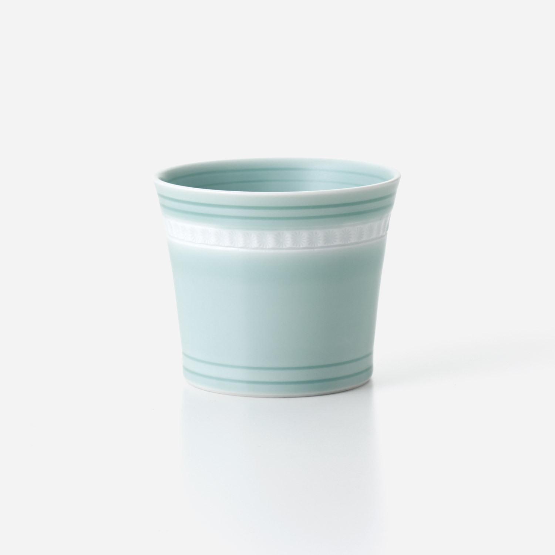 青磁印花 ロックカップ
