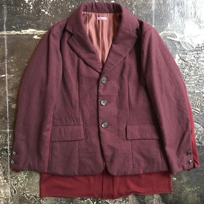 SUT1101-1 : 中綿ニットレイヤードジャケット チドリ