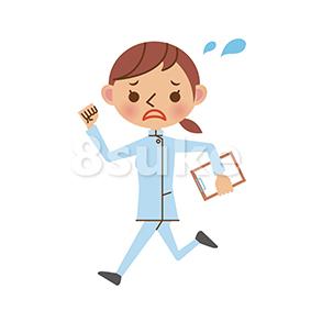 イラスト素材:慌てた様子で走る介護士(ベクター・JPG)