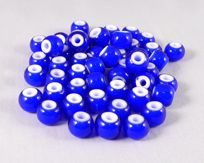 ホワイトハーツビーズ 青色 丸8mm H2742WH15102