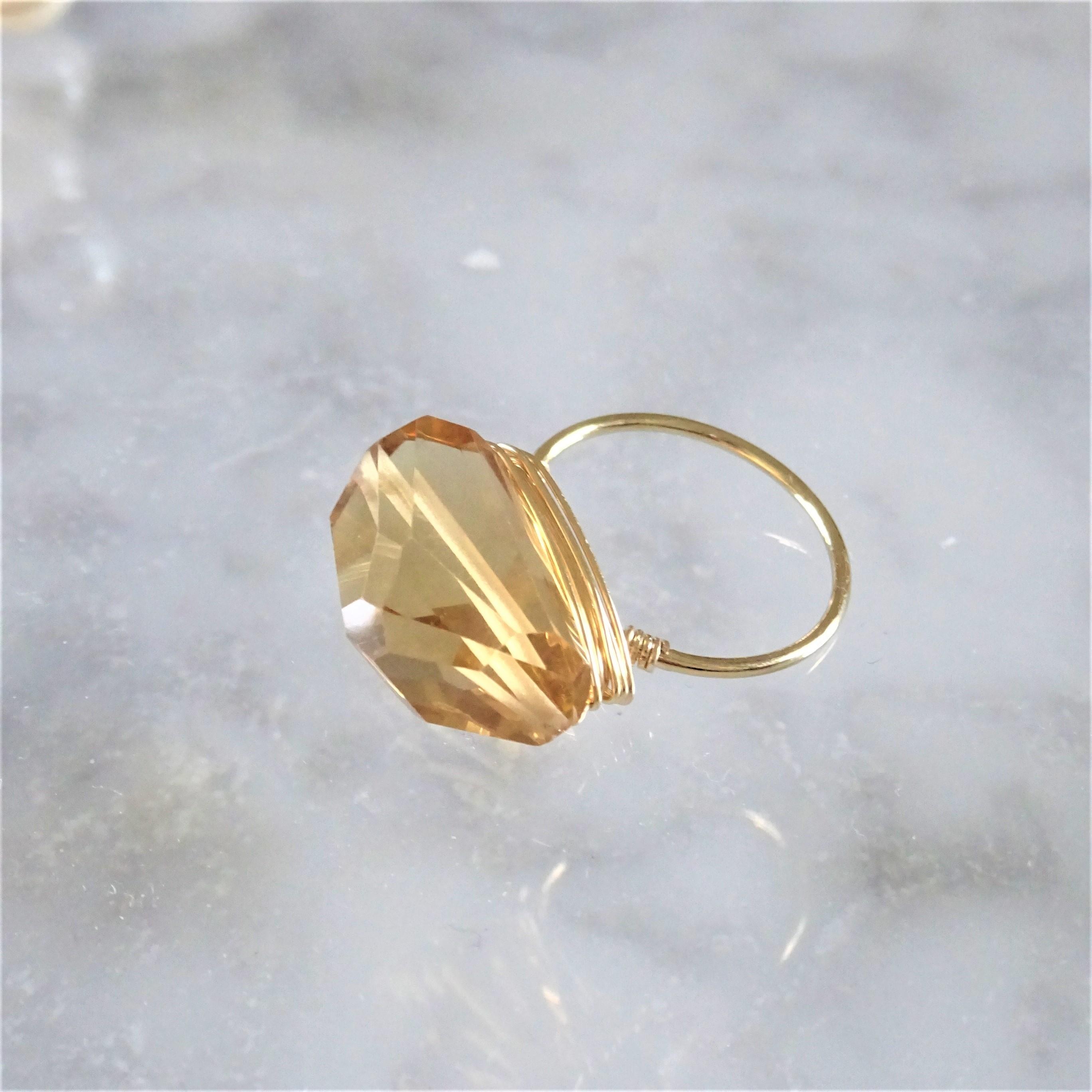 ギフト包装付14kgf*Champagne Quartz wrapped ring #9,#11