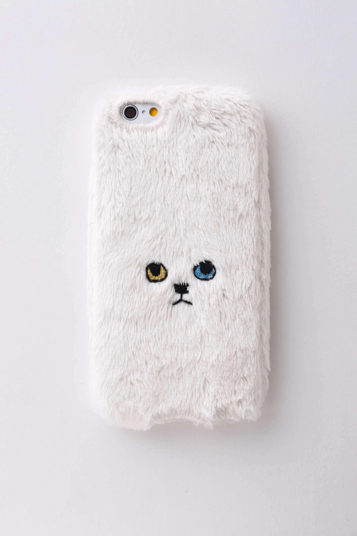 【iPhone7&iPhone6/6S対応】ネコiPhoneカバー【ホワイト】