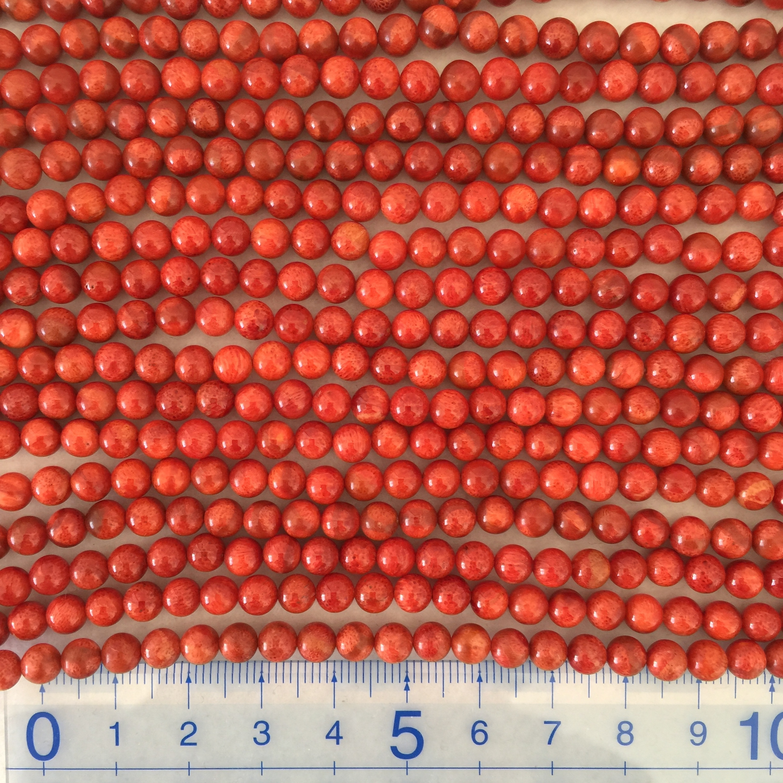 スポンジサンゴ 約5~5.5mm 中間色~明 連材【190008C】