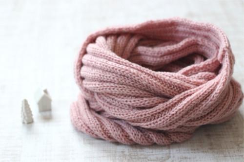 手編みのスヌード ピンク/sakura 型番:Z-17