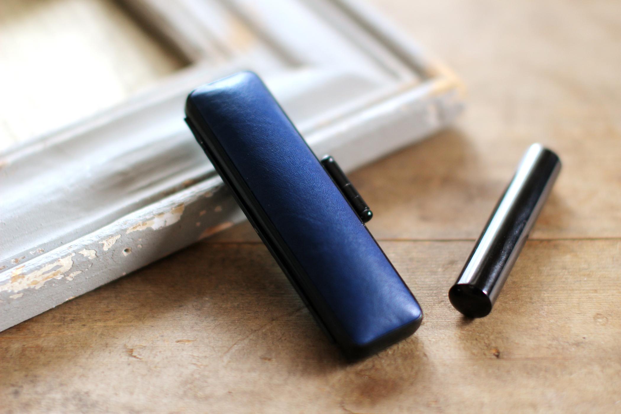 藍染革 12mm径印鑑ケース