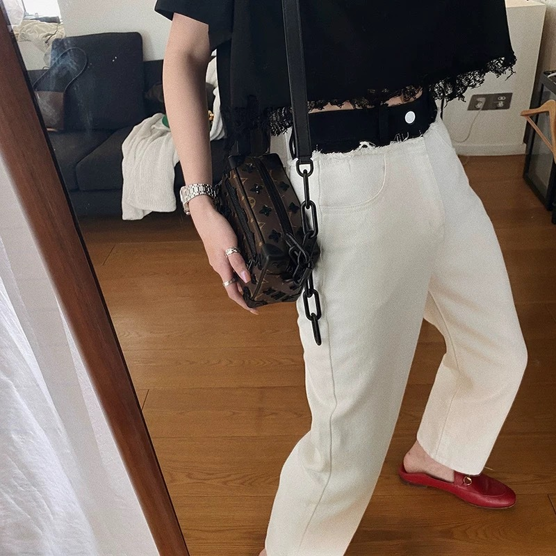 waist black loose pants