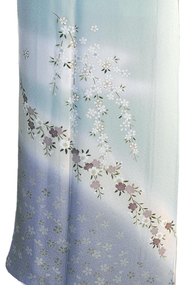 訪問着レンタル■青磁色地に裾青暈しやさしい小桜柄■正絹フリーサイズhu1〔往復送料無料〕 - 画像5