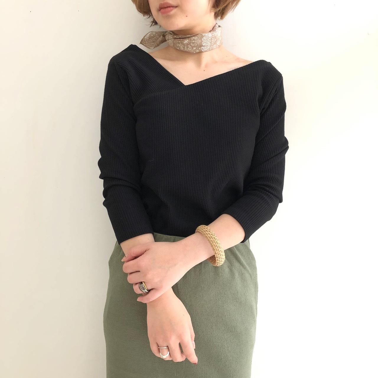 【 Valance Select 】アシメネックリブTシャツ