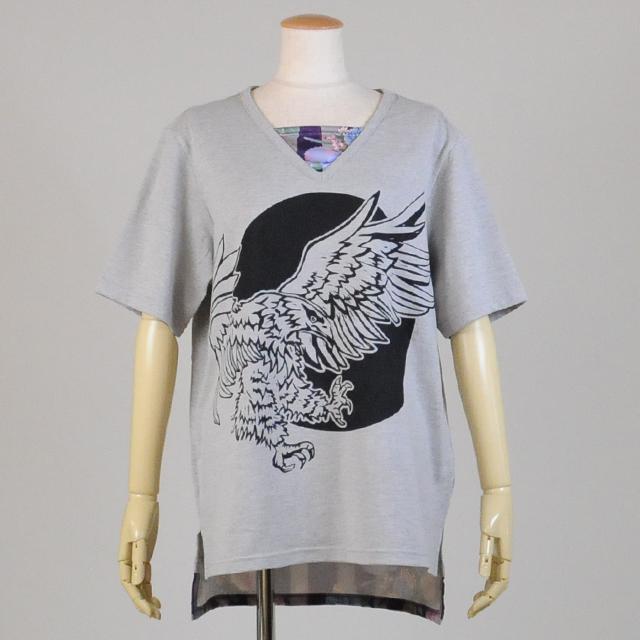 gouk侍 月と鷹プリントVネックTシャツ GGD25-T828 GY/MM