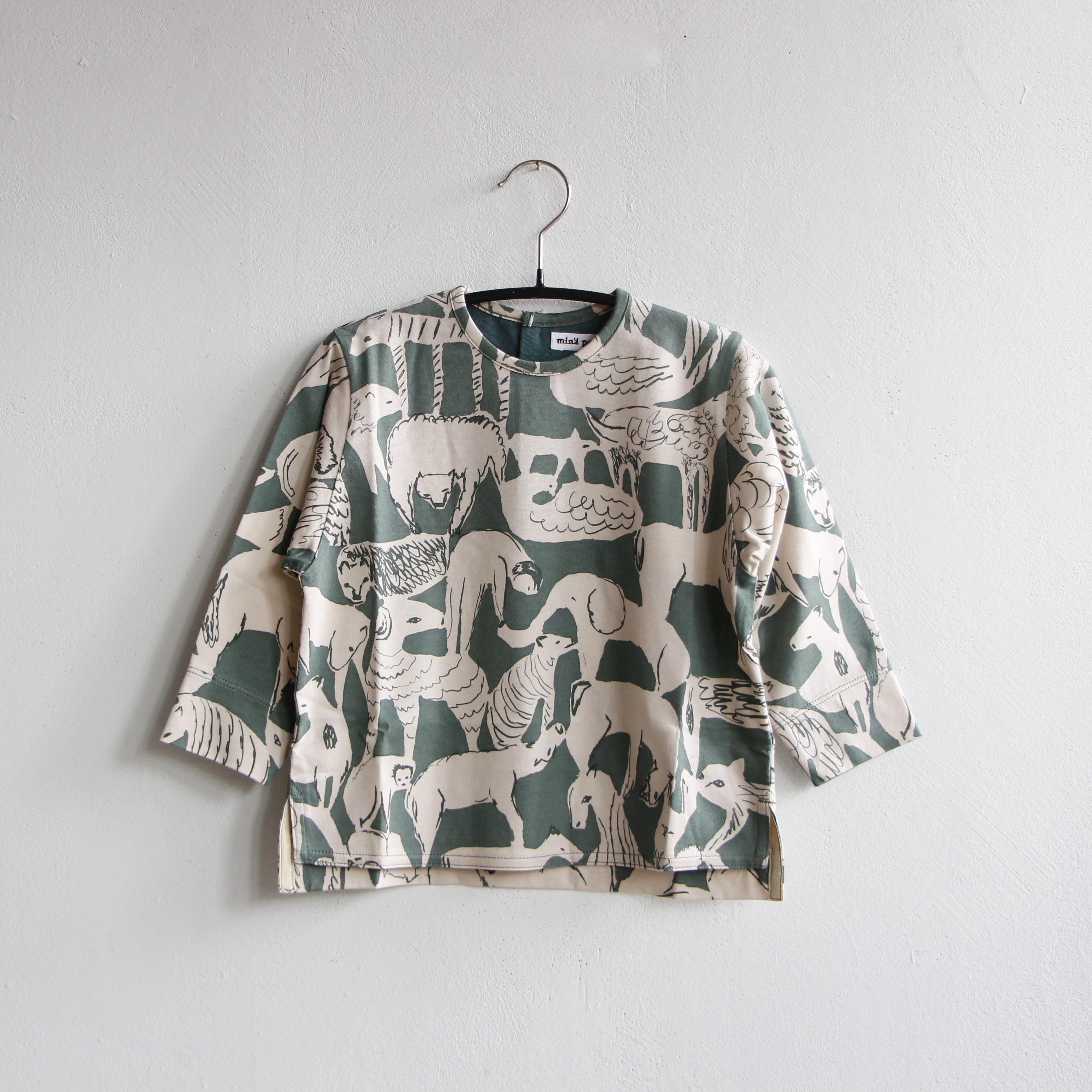 《mina perhonen 2020AW》life puzzle 長袖カットソー / moss green / 110-140cm