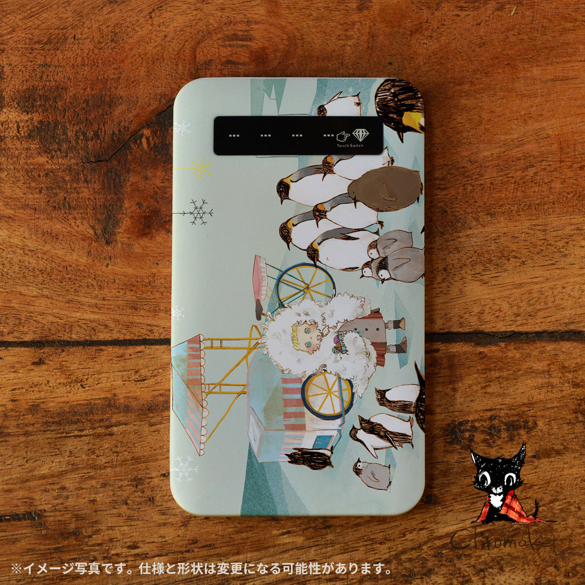 iphone モバイルバッテリー かわいい スマホ 充電器 持ち運び モバイルバッテリー 可愛い iphone 携帯充電器 アンドロイド かわいい ペンギン アイスクリーム アイスがほしい/Chromaket