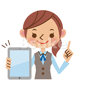 イラスト素材:タブレット端末を持つ事務スタッフの女性(ベクター・JPG)