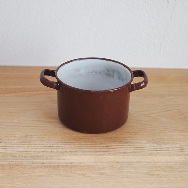 【イギリス】 両手鍋(小) 茶色 蓋なし ガーデニング ディスプレイ
