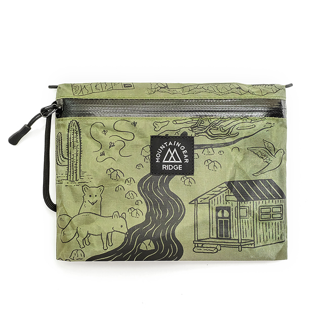 "RIDGE MOUNTAIN GEAR Travel Pouch Plus JUN OSON  ""Trail""(BrightGreen×BlackPrint)リッジマウンテンギア"
