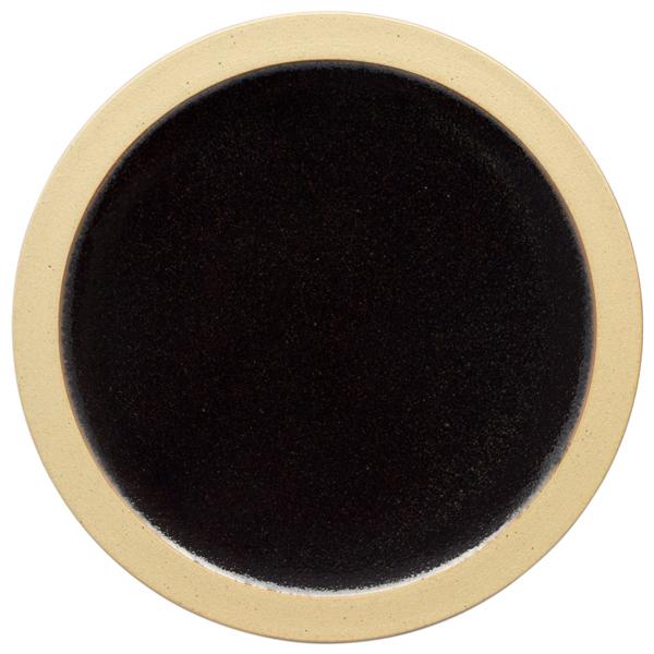 出西窯 縁焼〆皿 7寸 黒