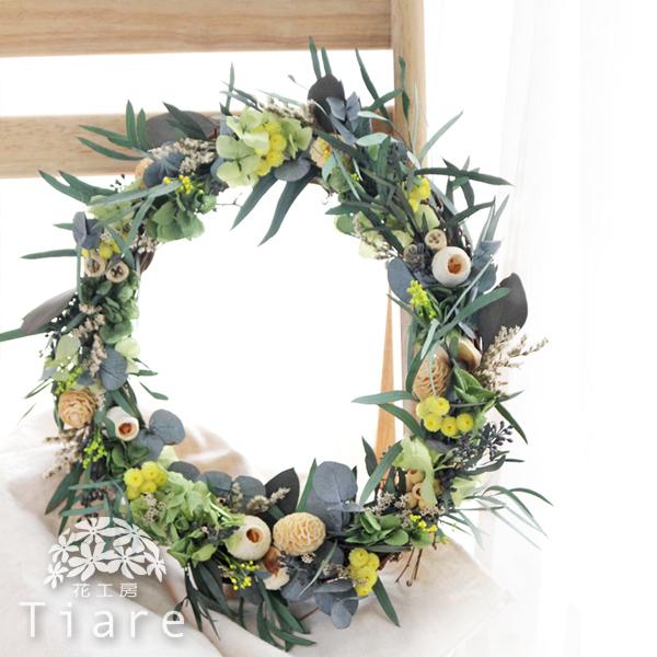 【オーダーメイド】プリザーブドフラワー、ドライフラワー グリーン、イエロー、木の実のナチュラルリース 会場装花、ご両親贈呈ギフトなどに