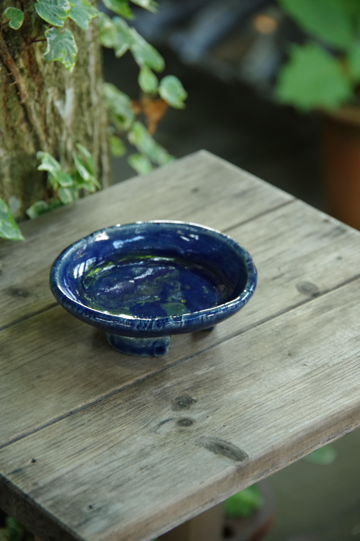 ルリ釉受け付丸植木鉢①【ねぎし よねお】