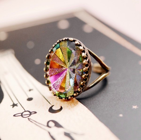 レア プリズムスター ヴィンテージガラスリング(指輪)
