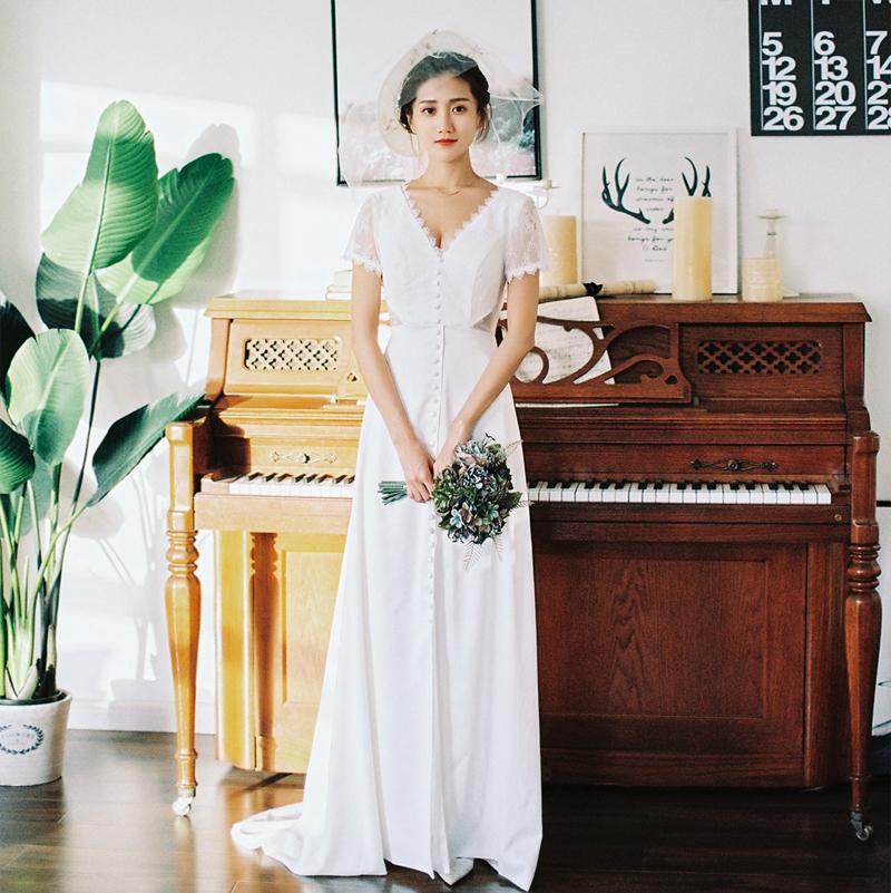 【DearWhite】ウェディングドレス Aライン プリンセス エンパイア デコルテ 結婚式 披露宴 二次会 パーティーウェディングドレス・カラードレス・サイズオーダー格安オーダーメイド DW00019